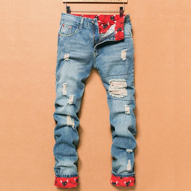 2018 Retro Fashion Slim Skinny   Jeans   Mens Solid Casual Straight   Jeans   Designer Brand Ripped   Jeans   Men, Light Blue Denim Pants