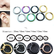 Women Men Punk Earrings Gothic Stainless Steel Simple Round Stud 6 Colors 7 Size Hip Hop Gold Sliver Hot Sale