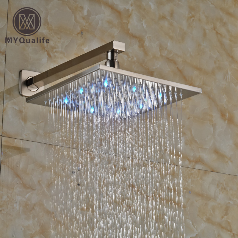 Luxury LED 3 Color Changing Shower Head Wall Mount Bathroom Shower Faucet Head Brushed Nickel + Shower Arm 8 square led color changing shower head wall mount bathroom top head brass shower arm