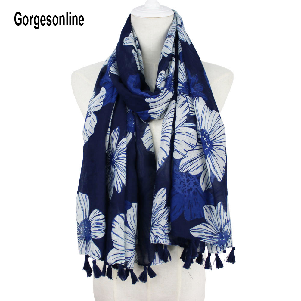 Gorgesonline Very fashion popular navy white flower printed women 100% viscose scarf tassel