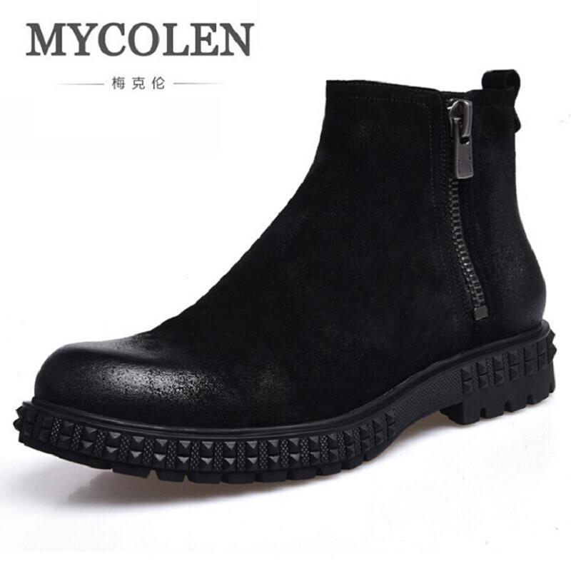 MYCOLEN Autunm Winter Mens Genuine Leather Boots Fashion Zipper Men Boots Handmade Black Men Shoes Botas De Couro Masculino мужской ремень cinto couro marca