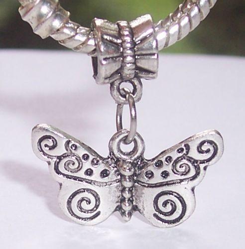 Hot ! 100pcs Tibetan Silver Butterfly Filigree Bug Garden Dangle Bead fits European Charm Bracelets 22.5 mm x 20 mm 4570L