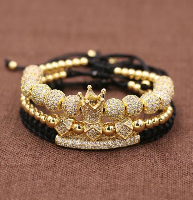 3pcs/Set Hip Hop Gold Crown...