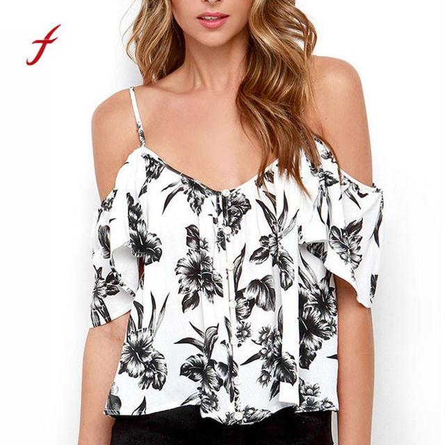 f963771f31b74 Women Off Shoulder Floral Print Button Chiffon Ruffles Back Split Spaghetti  Strap T-shirt Plus Size Short Crop Top Clothes 02