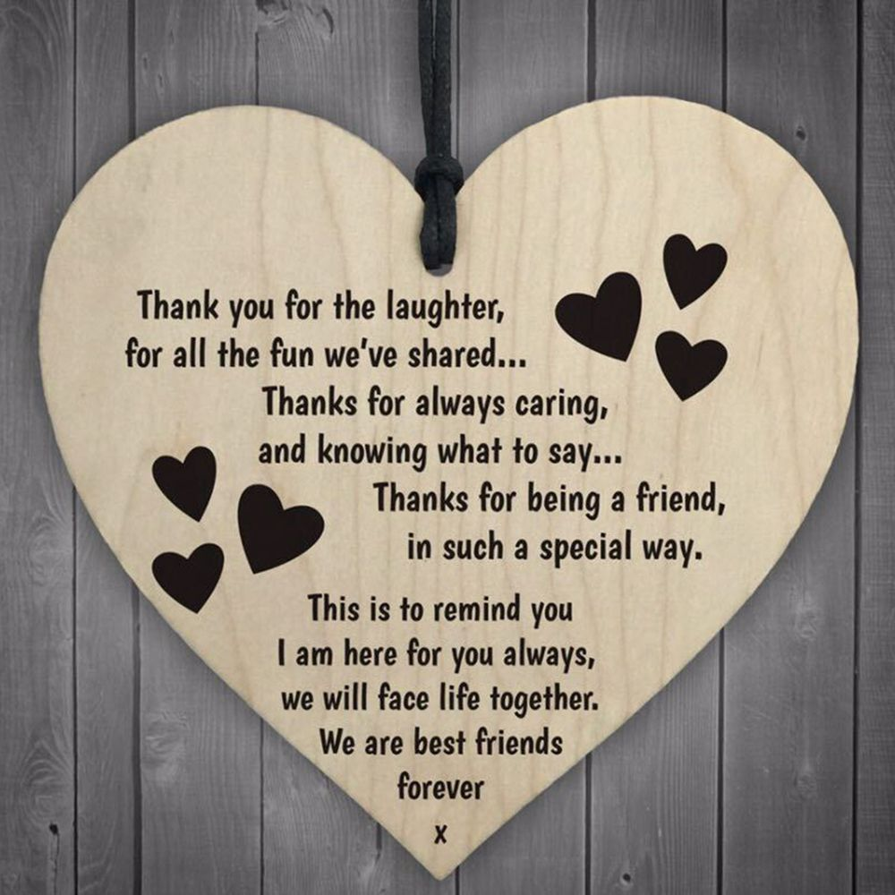 Thanks for Being a Friend Heart Plaque/Sign Best Friendship Gift Decoration