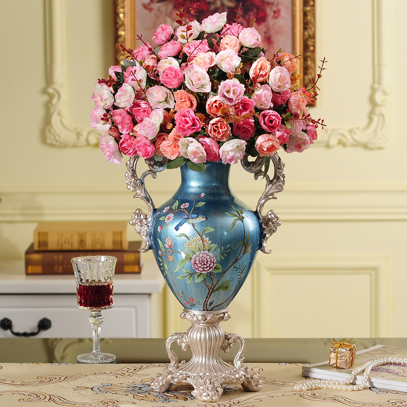 European Creative Resin Vase Crafts Luxury Retro Ornament Home