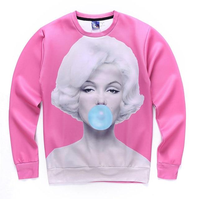 79f2b5cf7da6 Sweat-shirts Sexy Marilyn Monroe Bubble gum pour femmes hommes 3D imprimé à  manches