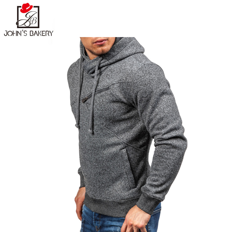 2018 New Hoodie Men Solid color Fleece Hip Hop Sweatshirt Fashion Mens Hoodies Brand Autumn Cotton pullover Male Hoody XXL