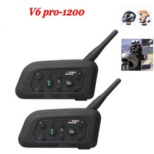 2017 New 2 pcs V6 Pro BT Interphone 1200M Motorcycle Bluetooth Helmet Intercom headset intercomunicadores for