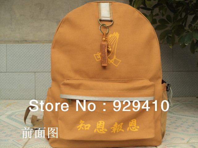 top quality yellow Buddhist Monk bag sachets shaolin martial arts lay Arhat big bags backpack high quality canvas