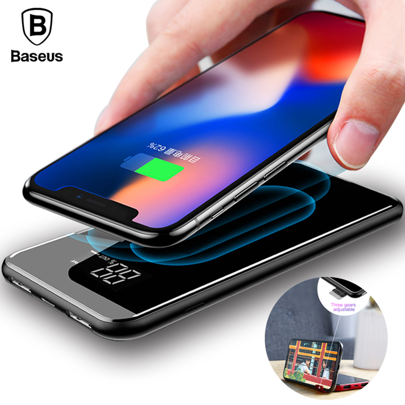 Baseus 8000mAh QI Wireless Charger Power Bank For iPhone XS Max Xiaomi LCD Dual USB External Battery Wireless Charging Powerbank