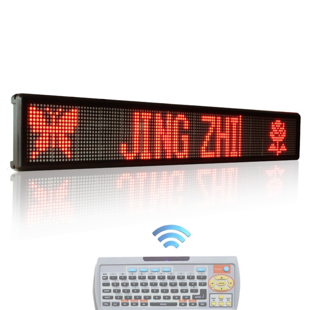 49 x 6.3inch LED Sign RED Color Remote Control Two Lines Running English Text LED Advertising LED Display Board with Keyboard