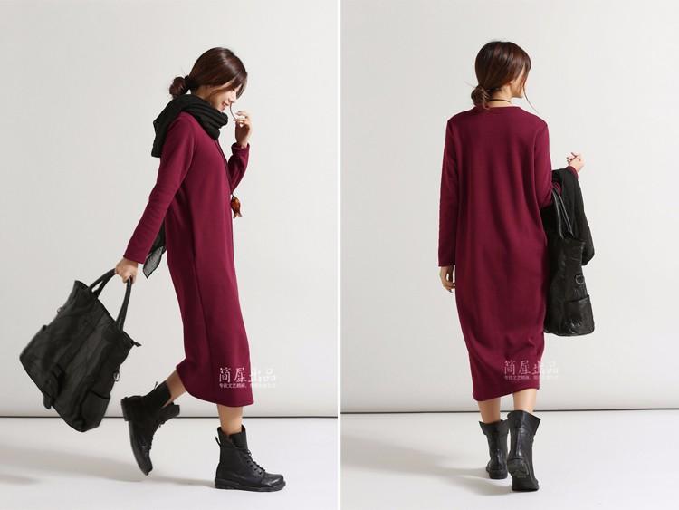 SCUWLINEN Winter Dress 17 Vestido Women Dress Plus Size Velvet Thickening Thermal Basic Dress Long Sleeve Solid Warm Dress S59 7