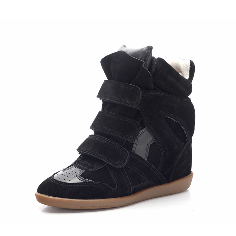 Fashion runway invisible wedge shoes woman suede leather ankle boots mixed colors high top shoes women