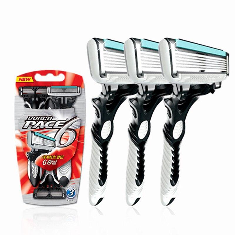 Gute Qualität Dorco Razor Männer 3 Teile/los 6-layer-technologie Klingen Rasierer für Männer Rasieren Edelstahl Rasierklingen