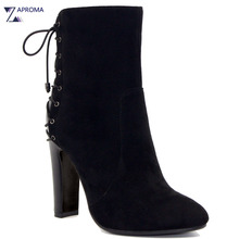 2018 Lace Up Rome Chunky Heel Women Ankle Boots Faux Suede Black Super High Heel Pointed Toe Shoe Short Plush Autumn Winter Lady