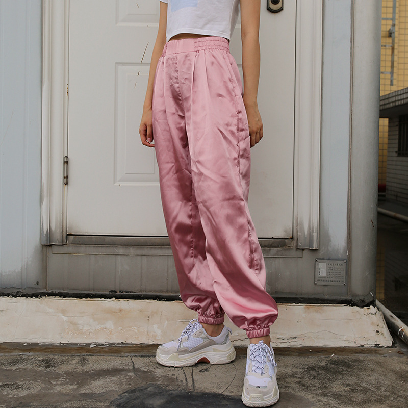 Women Stain Casual Ankle-length Trousers Fitness Ladies Loose High Waist Harem Pnats Womens Pink Fashion Jogge