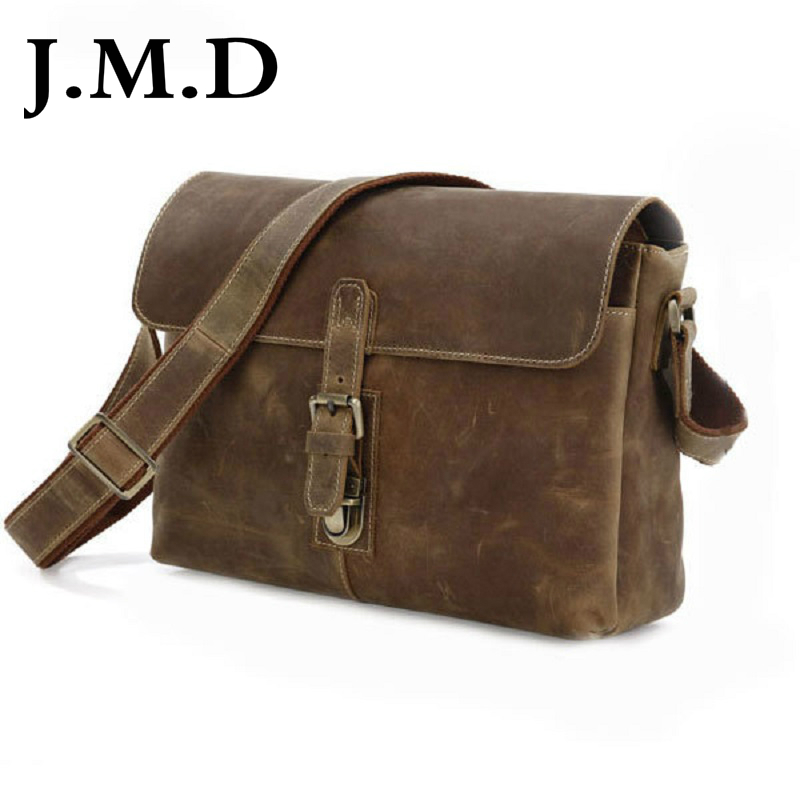 J.M.D 100% Men's Fashion Leather Bag Crazy Horse Leather  Cross Body Briefcase Sling Bag Shoulder Messenger Bag 7084A