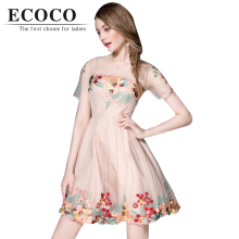 Top Quality 2016 Cute Princess Casual Short Sleeve Flower Floral Embroidery Mesh Above Knee Mini Summer Dress Wedding Party D244