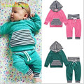 Retail 2017 NEW baby boy and girl Long sleeves  Pure cotton pink light green the infant child of hooded two sets manufacturer