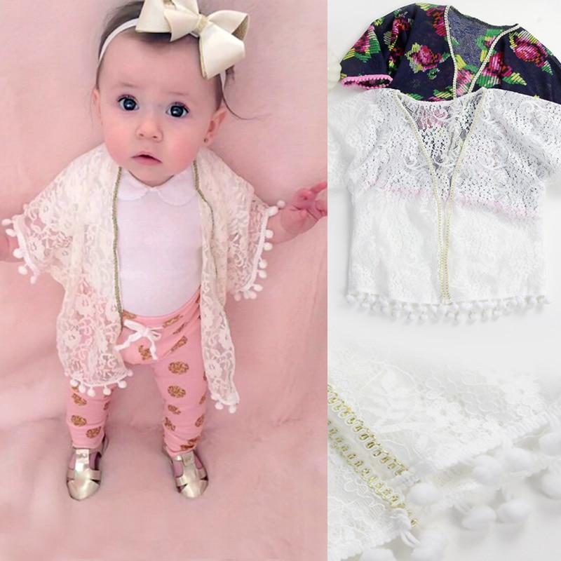 2016 Sommer Baby Mädchen Kleidung Sonnenschutz Infant Toldder Mädchen Lace Floral Kleidung 0-5y Baby Mantel Für Strand Kostenloser Versand