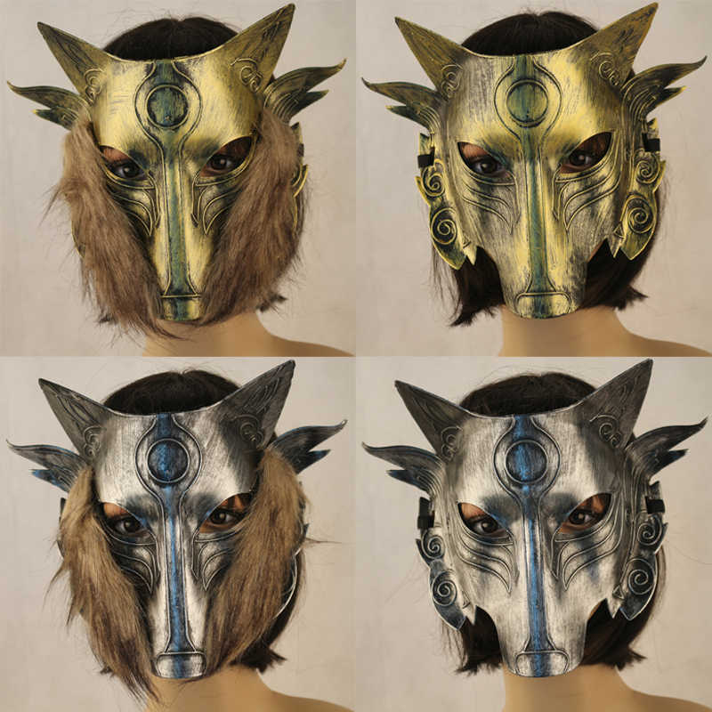 PVC Wolf Full Face Party Halloween Mask Animal Cosplay Beard Masks Terrible Carnaval Party Horror Mask Festival Costume Supplies