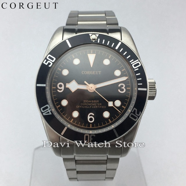 25a32f014e9a0 New Corgeut 41mm Stainless Steel Case Blue Bezel Sapphire Glass Miyota  Automatic Movement Mens Watches
