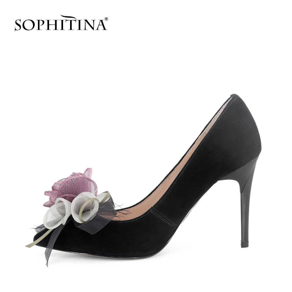 SOPHITINA Hoa Thời Trang Đảng Bơm Gợi Cảm Cao Cấp Mỏng Gót Mũi Nhọn Kinh Điển Giày Handmade Thoải Mái Người Phụ Nữ Bơm W27