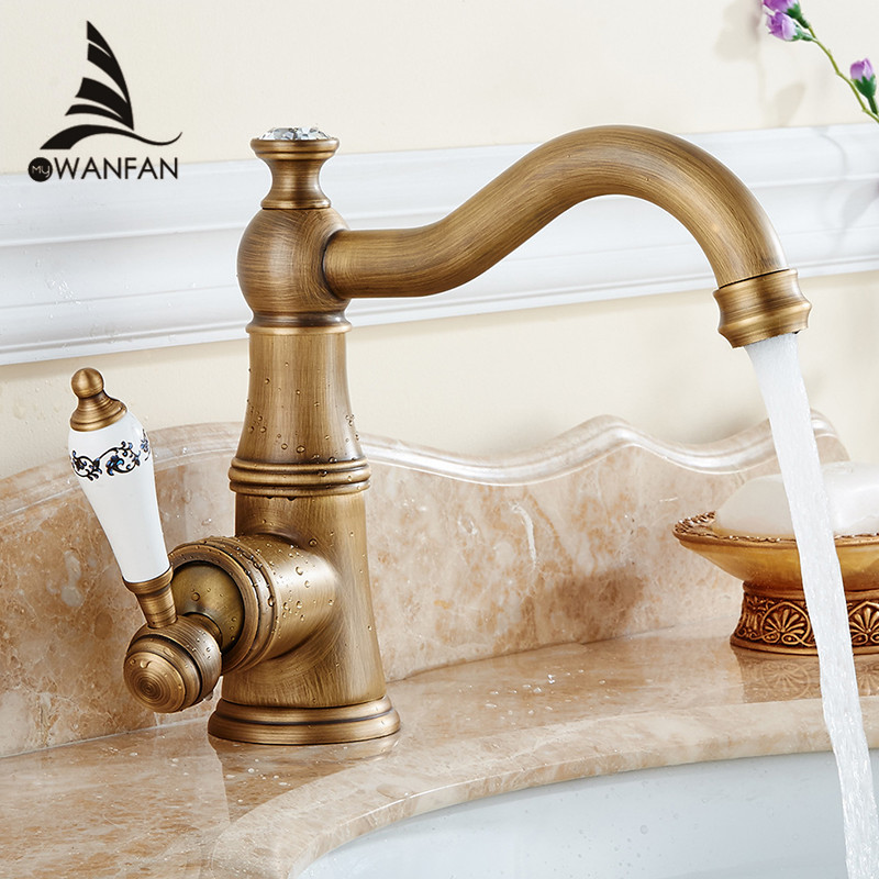 Basin Faucets Antique Brass Bathroom Sink Faucet Single Lever Swivel Spout Toilet Hot Cold Mixer Water Tap WC Cock M-18  antique bathroom vanity sink faucet single ceramic handles brass hot and cold basin mixer copper pop up drain