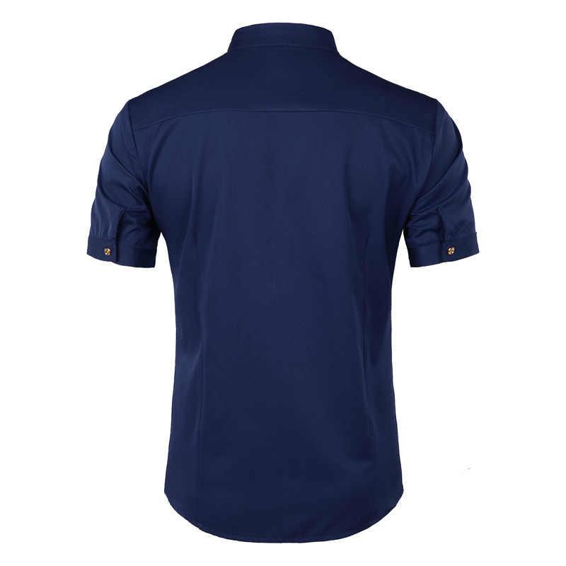 刺繍シャツ男性 2018 人格斜めボタン不規則なメンズ因果ドレスシャツ半袖マンダリンカラーシャツ男性