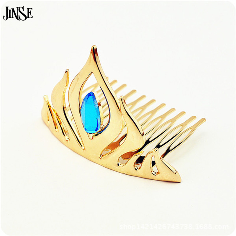 JINSE 3D Animated Movie Elsa Gold Color Blue Crystal Crown Tiaras Hair Combs Christmas Gifts Top Grade Women Hair Jewelry CR041 image