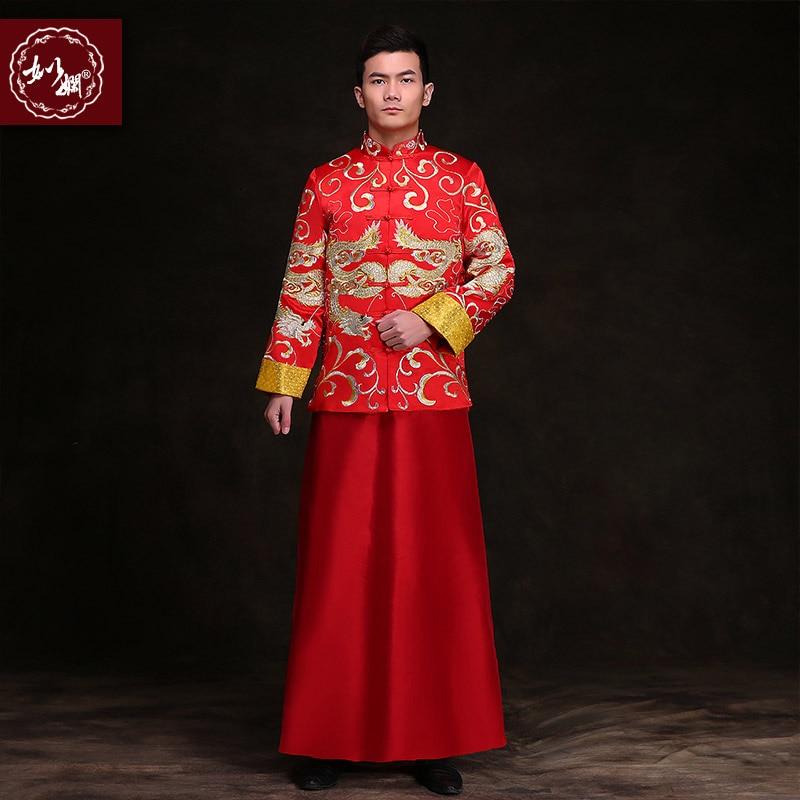 Chinese stijl bruidegom bruiloft lange jurk tang pak mannelijke pak kostuum tonen pratensis drakenjurk chinese tuniek pak mannen formele