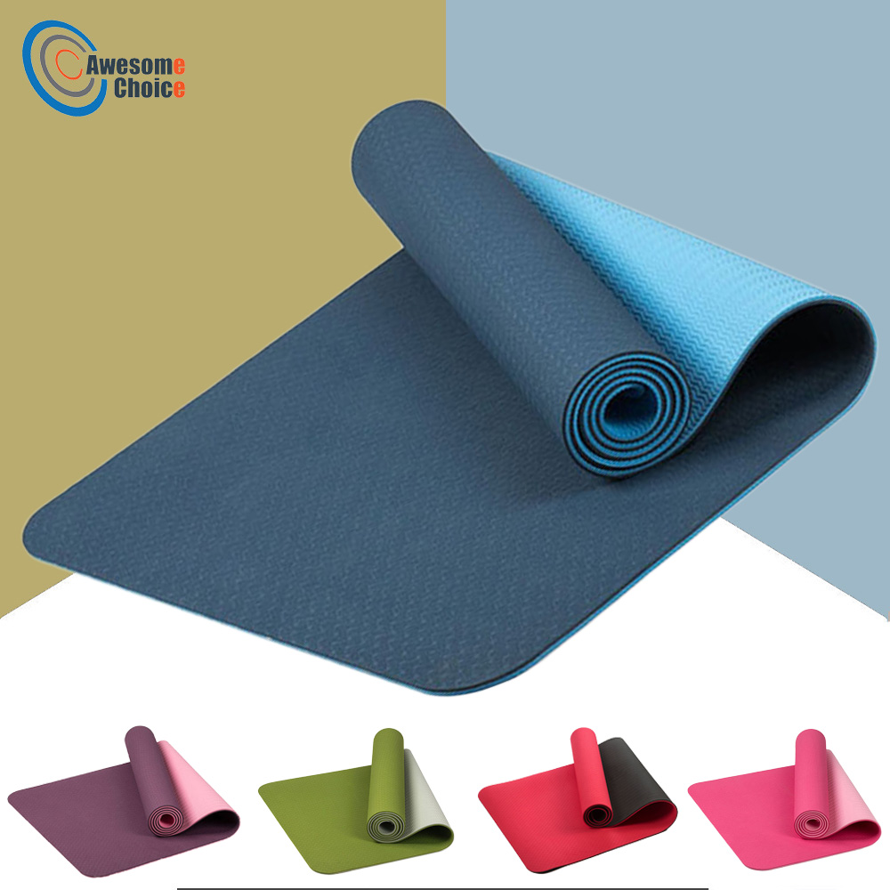 183 61cm 6mm Thick Double Color Non slip TPE Yoga Mat Quality Exercise Sport Mat for