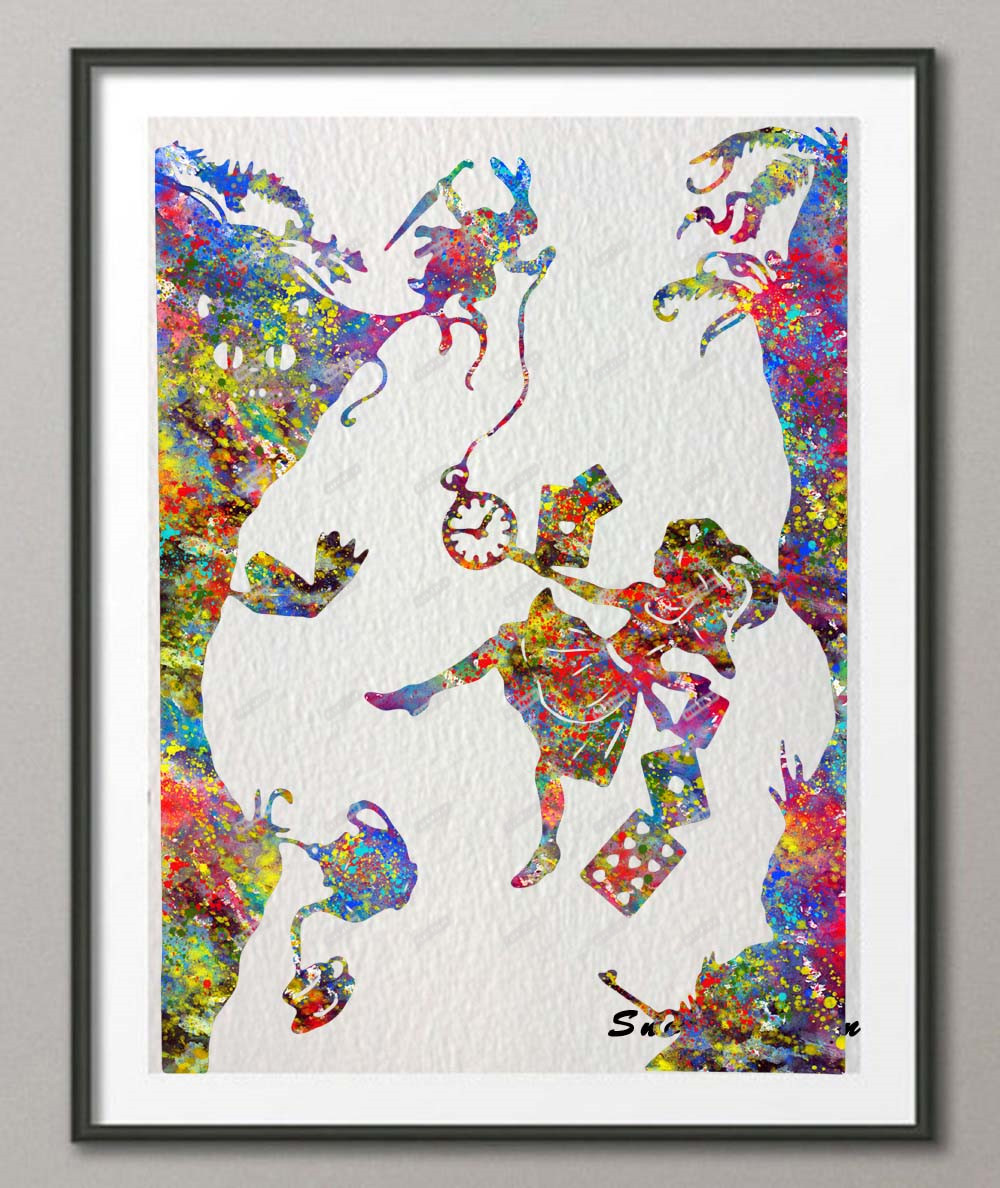 Gift ART PRINT Alice in Wonderland Quote Down the Rabbit Hole illustration