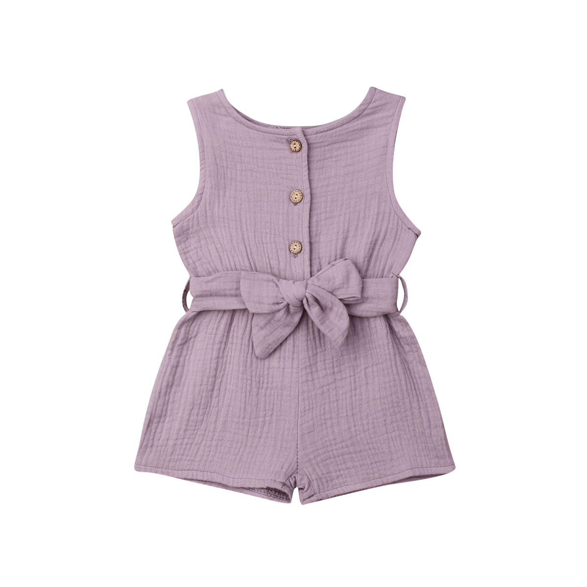 0 18M Newborn Baby Girl Solid Romper Kids Bowknot Button Sleeveless Playsuit with Belt Outfits 2Pcs Summer Cute Clothes Sets in Clothing Sets from Mother Kids