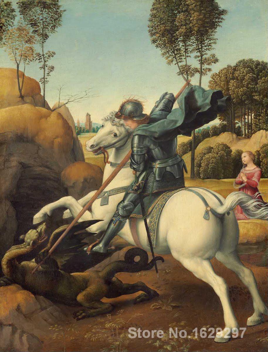 Saint georges et le Dragon peintures de raphaël sanzio art impressionniste de haute qualité peint à la main