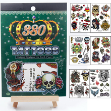 Save More 6PCS/SET Combo Multi-style Fashion Cool Temporary Tattoo Rock Death Skull Rose Pirate Unique Designs Tattoos For Men