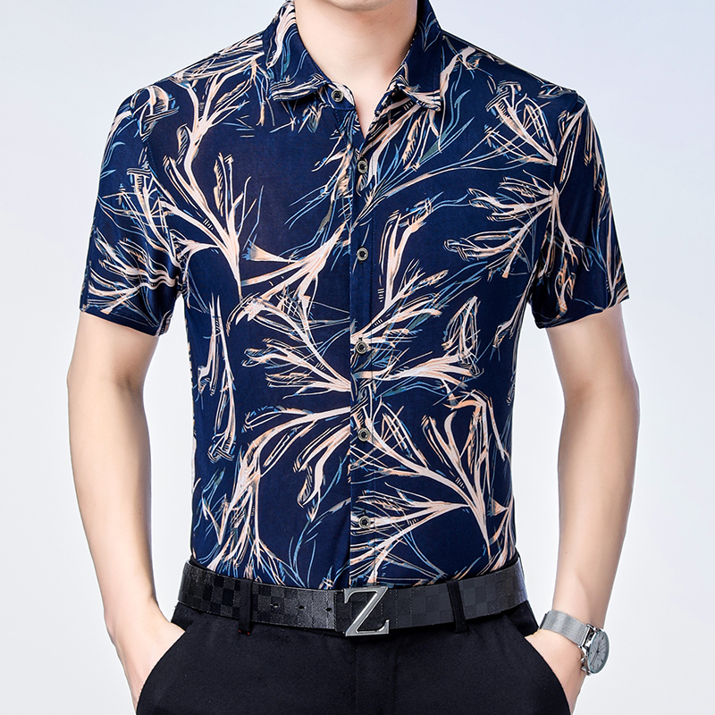 New 2019 Summer Male <font><b>Short</b></font> <font><b>Sleeve</b></font> Floral <font><b>Shirt</b></font> Man Casual Fashion <font><b>Striped</b></font> Clothes Dress <font><b>Shirts</b></font> image