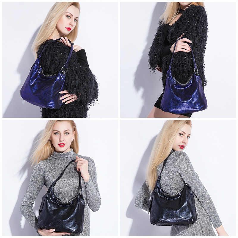 Realer Tas Bahu Wanita Kulit Asli Fashion Tas untuk Wanita Tas Kurir Selempang Kualitas Tinggi Gelandangan Kapasitas Besar
