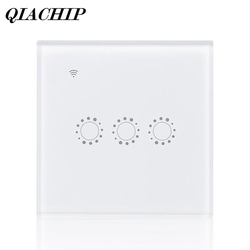 QIACHIP WiFi Smart Switch Work with Amazon Alexa APP Voice Control Touch Screen 3 Gang Light Glass Panel Smart Google EU Plug E ewelink us type 2 gang wall light smart switch touch control panel wifi remote control via smart phone work with alexa ewelink
