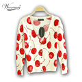 Women Cherry Printed Cardigans beautiful women's patterns knitted sweaters thin warm V neck cotton jacket  WS-015