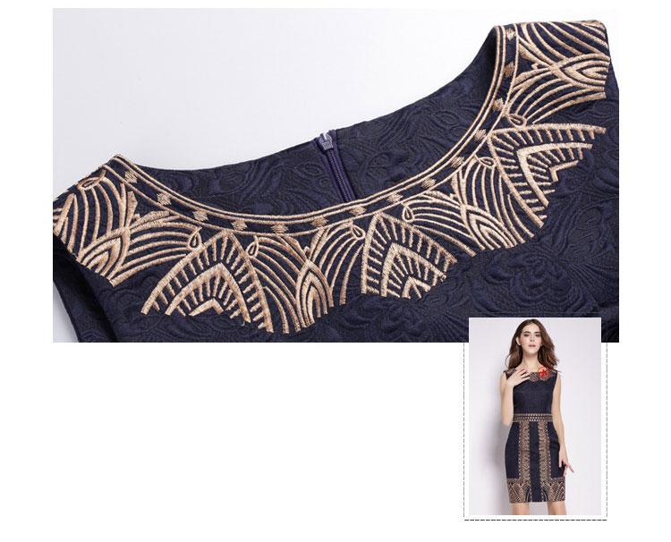 Embroidery Print Sleeveless Slim Waist Office Dress 6