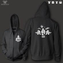 Star wars force awakens stormtrooper death star falcon original men unisex zip up hoodie sweatershirt 82% cotton fleece inside