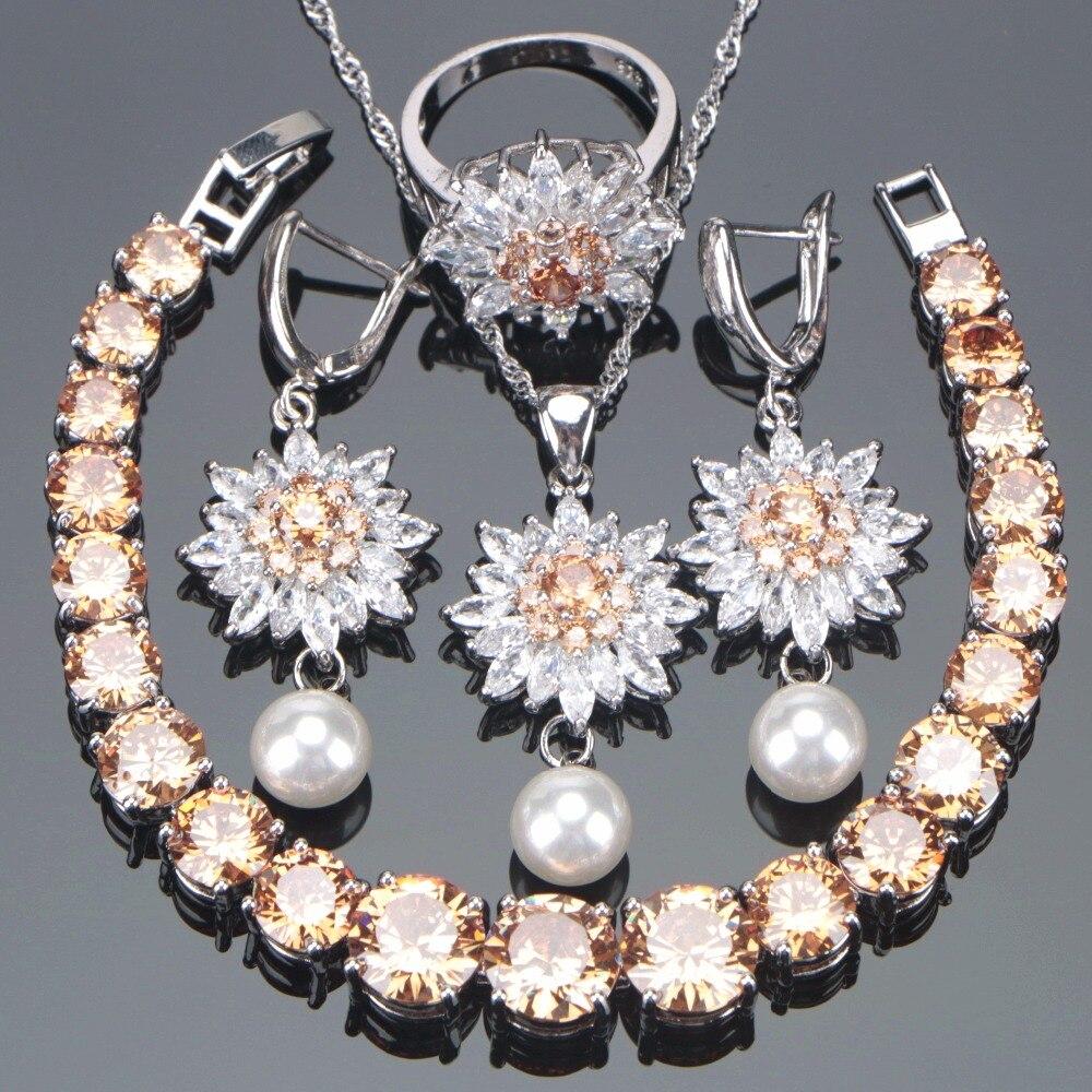 Bridal Champagne Zirconia Jewelry Sets