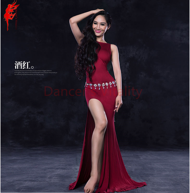 NEW Belly Dance Dress Girls Belly Dancing Clothing Master Belly Dance Dress Sleeveless Dance Dress Dancer's Fashoin Dresses M/L