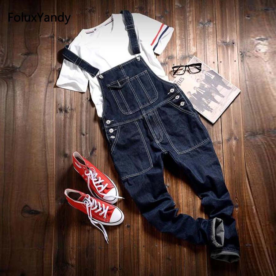 Men's Bib Jeans New Casual Suspenders Denim Overalls Male Boyfriend Jumpsuits Black OR07-8062 male suspenders 2016 new casual denim overalls blue ripped jeans pockets men s bib jeans boyfriend jeans jumpsuits