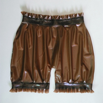 Latex  shorts  for adult with ruffle sexy charming bloomer unisex handmade transparent natural