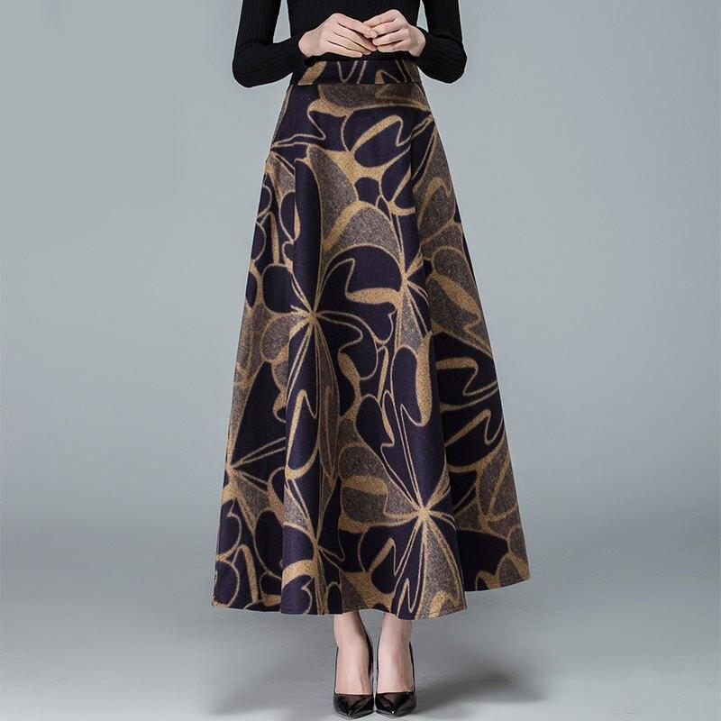 3 Impresión Larga Mujer Moda C5105 Faldas Otoño Cintura De 2 Jupe Mujeres Lana Elegante Flor Falda Lana E Invierno 1 Alta xqYwRfS