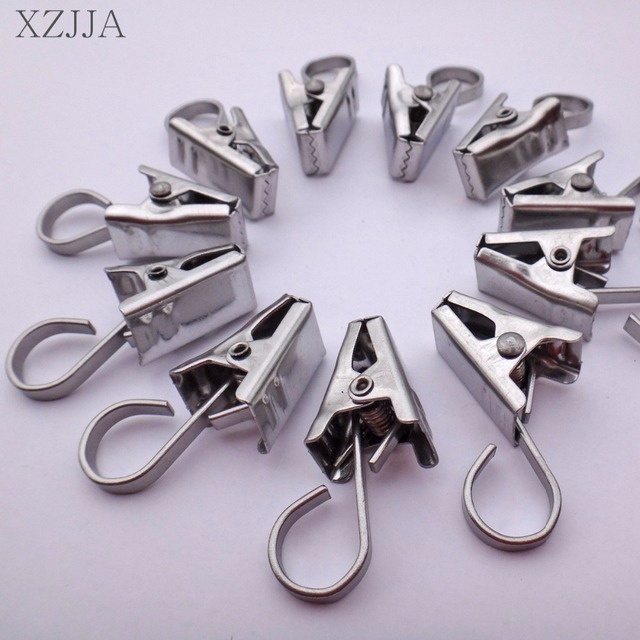 25pcs Strong Curtain Rod Hook Clips Window Shower Rings Clamps ...