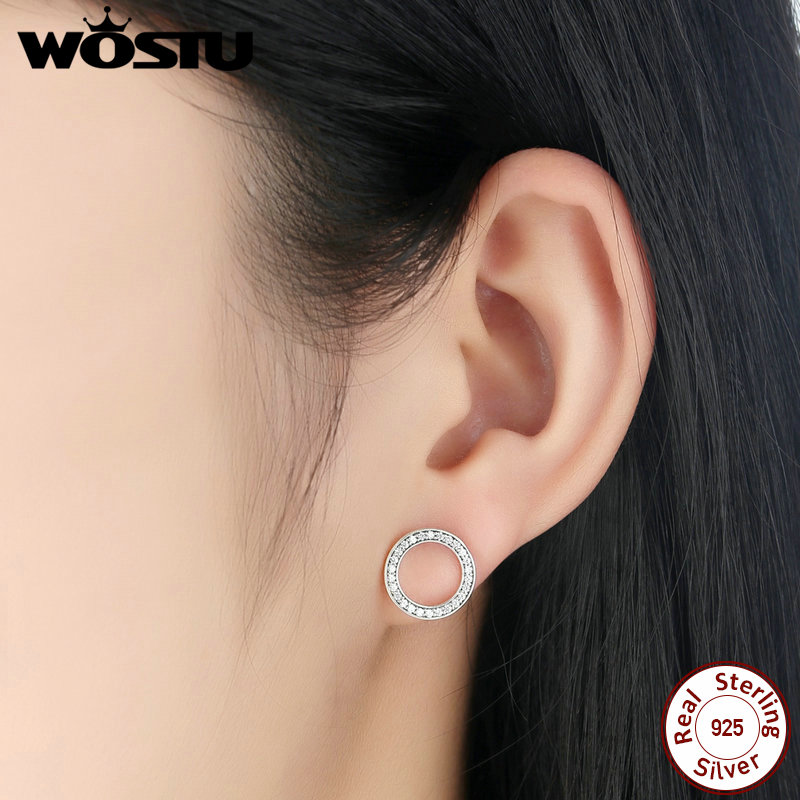 WOSTU Hot Fashion 100% 925 Sterling Silver Lucky Forever Circular Stud Earrings For Women Authentic Original Jewelry Gift 3